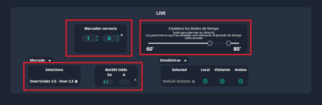 filtro de mercados en las alertas de fútbol betpractice