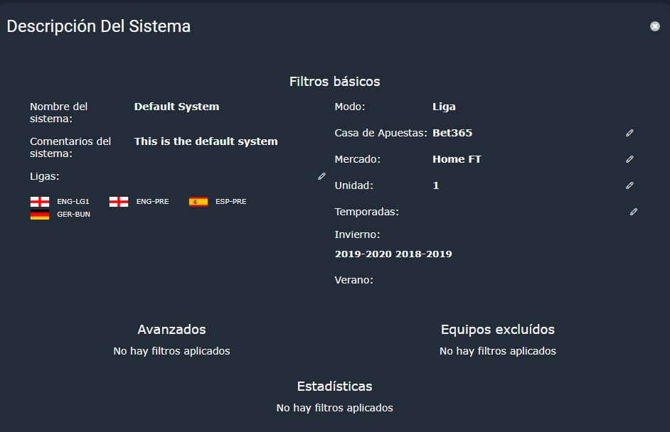 panel descripción del sistema en backtesting